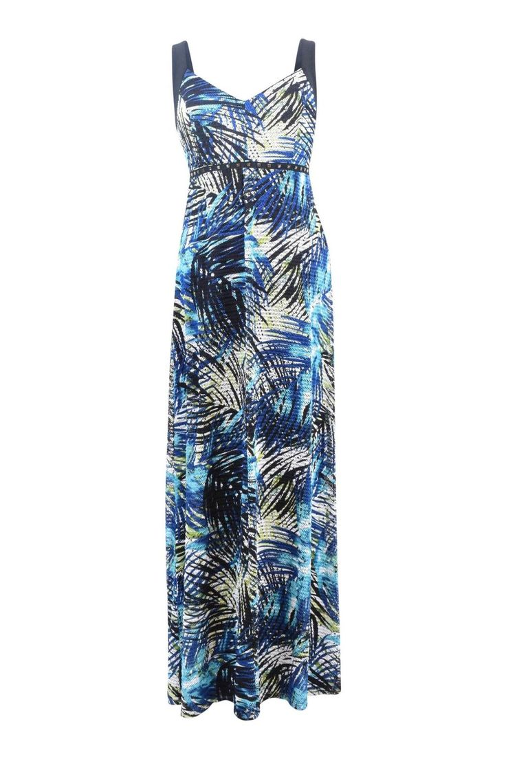"""This fern print mesh maxi is perfect for a cruise, vacation or summer wedding! With a sweetheart neckline and empire waist , this lined dress has great lines to flatter .Tropical blues & greens dress has black straps and detail at Empire waist with small pewter studs.    This dress has an amazing fit, and is 54"""" long from shoulder to floor on a size 4.   Fern Print Maxi Dress by Frank Lyman. Clothing - Dresses Canada"""