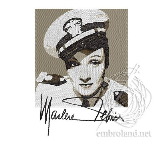 Marlene Dietrich Machine Embroidery Design Instant
