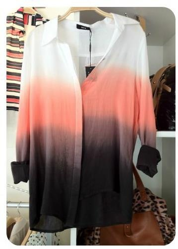 Fashion, Ombre Buttons, Style, Fall Colors, Clothing, Dips Dyes, White Shirts, Ombre Shirts, Dreams Closets