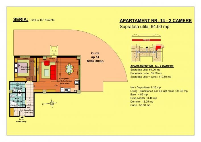 Vand apartament 2 camere, parter, zona Tractorul-Brasov  Situate pe strada Nicolae Labis nr 52, blocurile sunt construite pe un regim de inaltime de P+2 E + Mansarda, cu 2 lifturi si sunt realizate arhitectural cat sa permita acelasi grad de lumina in toate apartamentele.  Acceptam orice forma de plata: Cash, Credit Ipotecar, Prima Casa sau Rate la Dezvoltator.( cu un avans de 10000 euro- 5000 la achizitie si 5000 la mutare, rate de 600 euro, perioada maxima