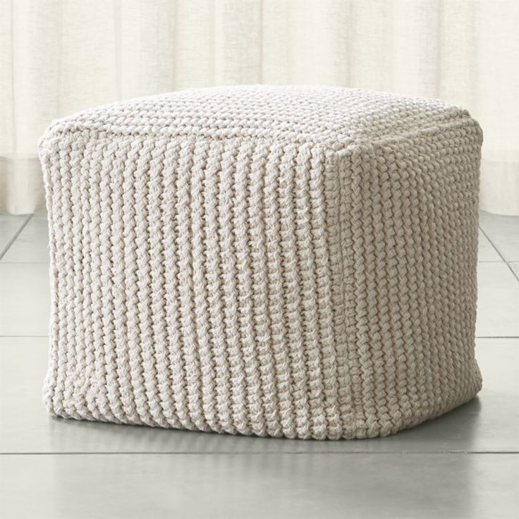 Shop Rowden Pouf.  Handcrafted in India by skilled artisans, each of these earthy poufs is painstakingly crocheted for 12-15 hours in a chunky stitch of thick, undyed cotton yarn.  The resulting oversized cube is ideal as extra seating or ottoman.