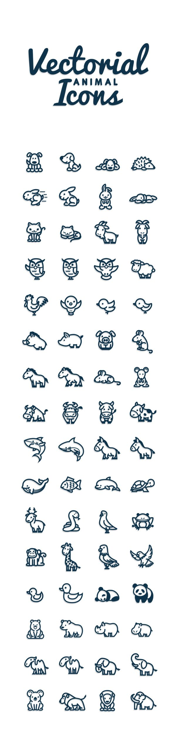Vectorial Animals by Bodea Daniel, via Behance // Petits animaux divers : chien, hérisson, lapin, chat, chèvre, hibou, mouton, coq, oiseau, sanglier, cochon, cheval, souris, vache, requin, âne, baleine, poisson, dauphin, tortue, renne, serpent, pigeon, mouette, grenouille, singe, girafe, aigle, canard, panda, ours, rhinocéros, hippopotame, chameau, éléphant, koala, lion, mammouth