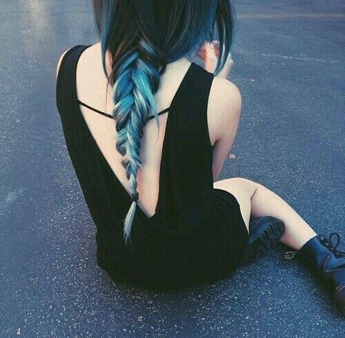 Stunning reverse fishtail braid with the black to blue ombre