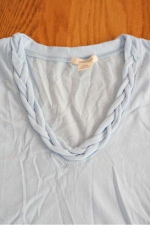 DIY shirt instead of neck line, make spaghetti straps braided