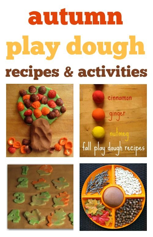 Autumn play dough recipes, fall play dough activities, fall sensory play ideas