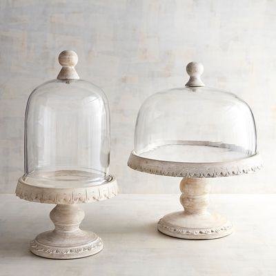 Emma Whitewashed Wooden Cake Stands With Dome In 2019 Design Ideas