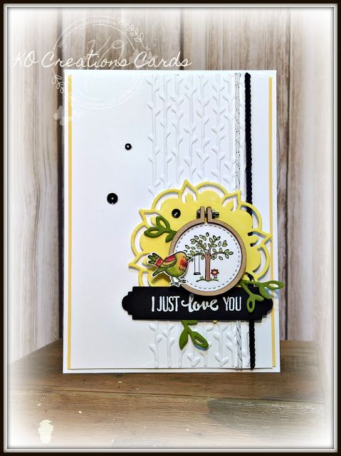 KOCreations Stampin' Up! Blog: Crazy Crafters Occasions and Sale-A-Bration inspiration - I Just Love You #kocreationscards #agoodday #miniembroideryhoops #cardmaking #papercraft #stampinup #petalpalette #swing #trees #birds #valentinesday #wedding #engagement