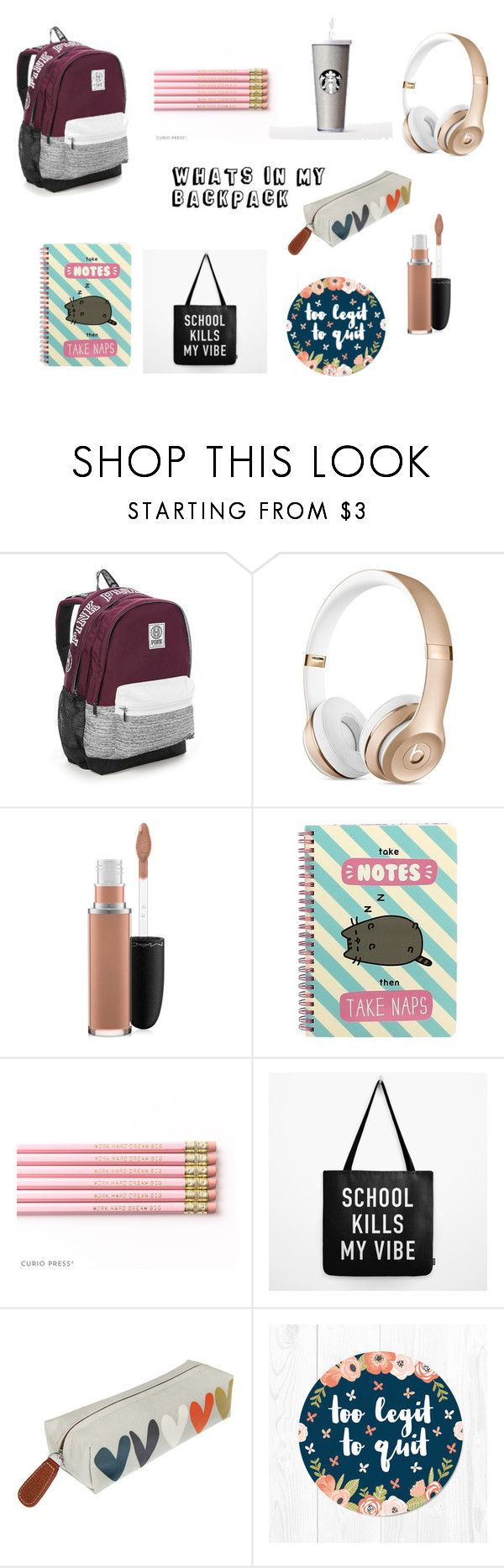 """""""WHATS IN MY BACKPACK"""" by maddie-elizabeth-xo on Polyvore featuring Victoria's Secret, MAC Cosmetics, Pusheen and Caroline Gardner"""