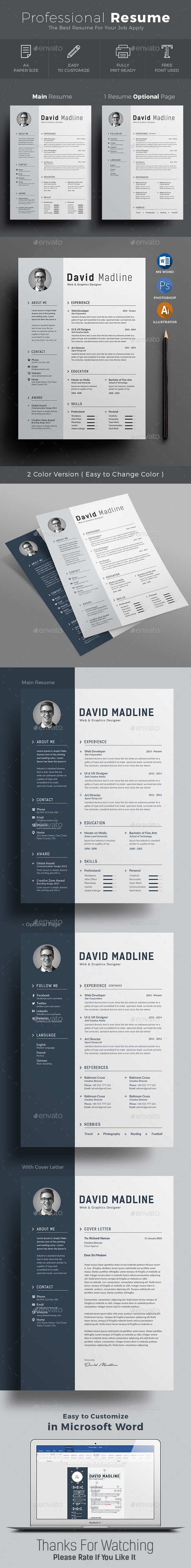Resume cv 2017 template to help you land that great job. The flexible page designs are easy to use and customize, so you can quickly tailor-make your resume for any opportunity. #resume #cv #template
