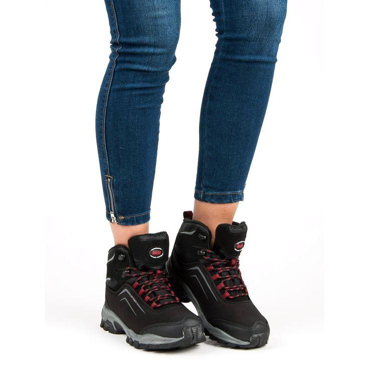 American Club Damskie Zimowe Buty American Czarne High Top Sneakers Shoes Sneakers