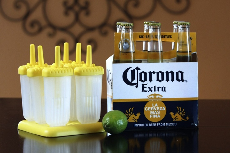 Ingredients:  Corona & 1 lime, for garnish. Directions: Open a bottle and pour it into a popsicle mold. Add a lime slice, if you'd like. Freeze for 2-4 hours or until it becomes solid. Yield: 1 bottle of beer makes 3 popsicles.