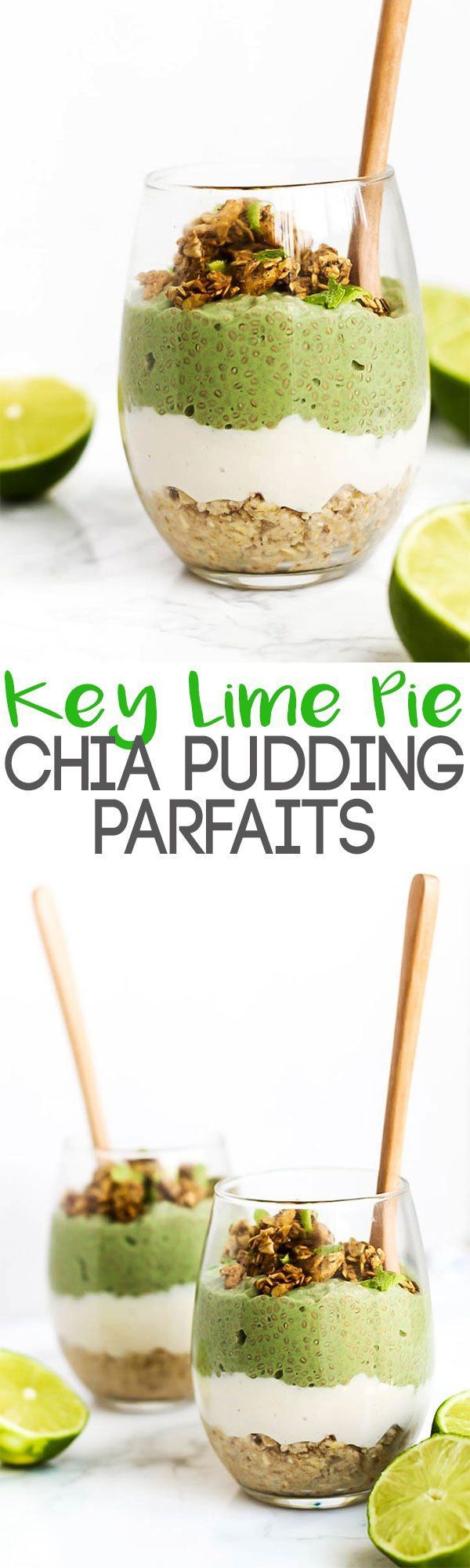 One bite into the layers of these Key Lime Pie Chia Pudding Parfaits will have you thinking you're enjoying dessert for breakfast! Vegan & gluten-free.