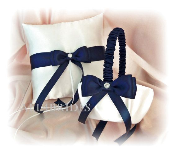 Navy Blue Wedding Flower Girl Basket and Ring Bearer by All4Brides, $60.00