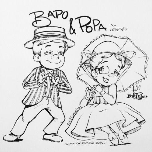 Día 19: Mary Poppins y Bert con Bapo&Popa | Day 19: Mary Poppins and Bert with Bapo&Popa #disney #ink #inktober #inktobergt #art #artist #artismelb #dibujo #drawing