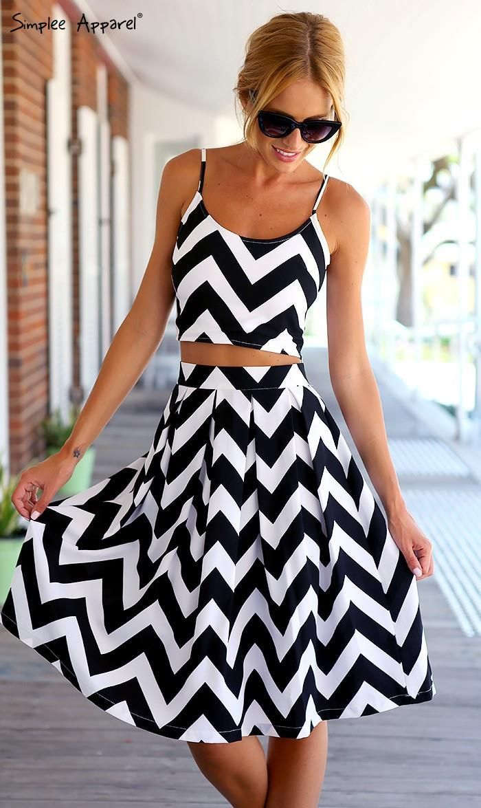 2015 Black & white stripe Two pieces backless knee length dress beautiful clothes #fashion