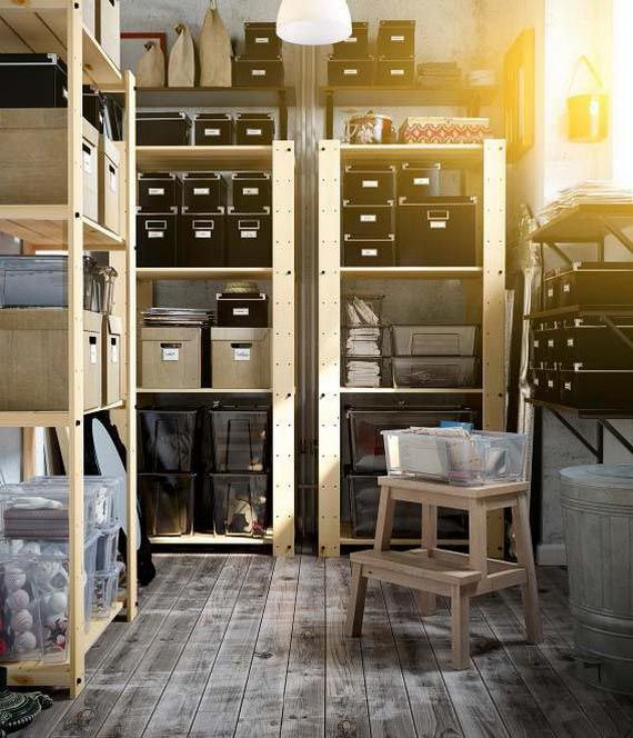 Get control of your basement storage space with sturdy GORM shelving units and a collection of labeled boxes.