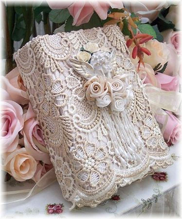 Shabby chic wrapping for the very feminine. (* wrap w. thin layer of paper first then wrap over with lace/crochet. Secure positions w.pins then glue well. Add top embellishment. Tired of flowers, replace w. vintage brooch to pin on gift tag.)