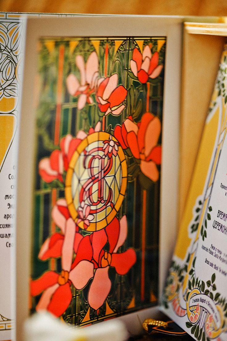 wedding invitations, Belle Epoque wedding. Витраж внутри пригласительного с нашим свадебным вензелем