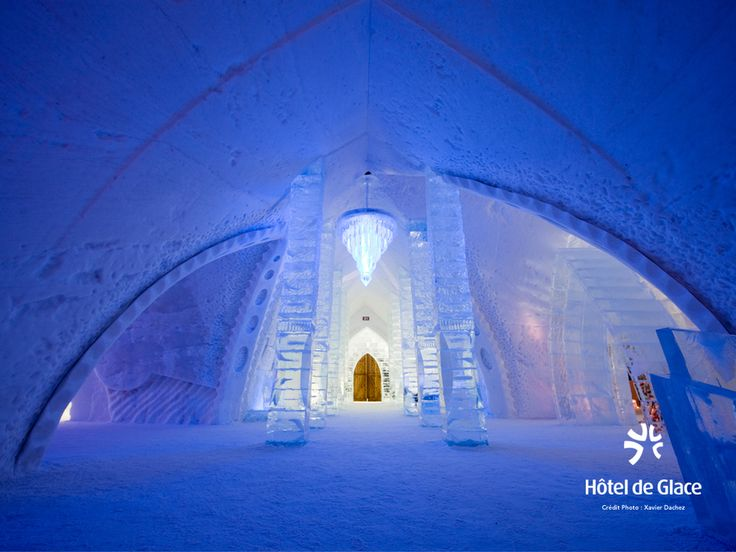 Hôtel de Glace - Quebec City, Canada - Created from 15,000 tons of snow and 500,000 tons of ice, the Hôtel de Glace actually needs to be rebuilt by a team of about 60 workers every winter, and only stays open from January to March. It's built by freezing ice around steel supports suspended by cranes, and then they add the doors, appliances, and furniture in afterwards.Quebec Cities, Buckets Lists, Ice Castles, Ice Hotels, Quebec City, Places, Hotel, Hotels De, De Glace