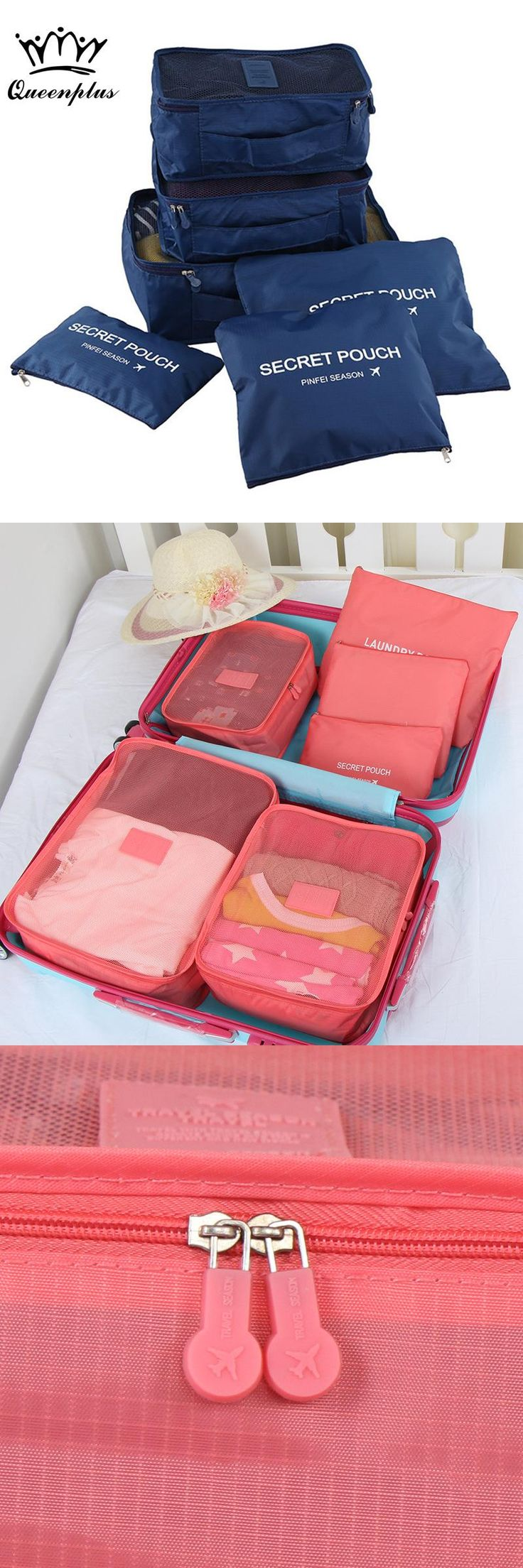 [Visit to Buy] 6pcs/set Fashion Double Zipper Waterproof Polyester Men and Women Luggage Travel Bags packing cubes #Advertisement