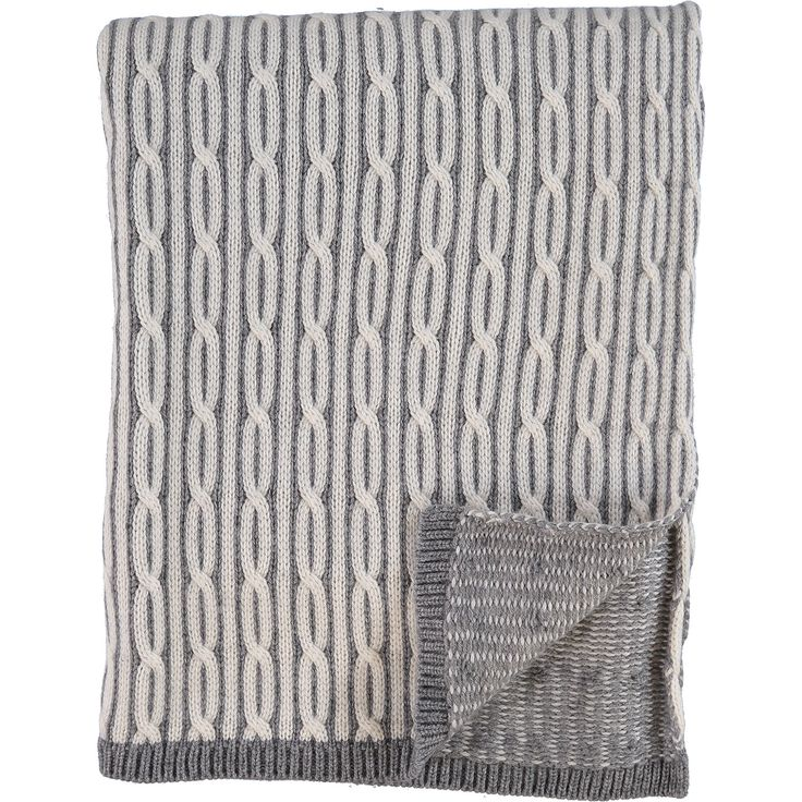 """Nicole Miller"" Grey Cable Knit Woollen Throw - TK Maxx"