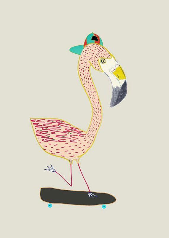 Cool childrens art print flamingo decor print nursery wall prints illustration art poster. ''Flamingo Skater''.