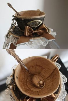 steampunk tea cup hat http://steamfashion.livejournal.com/3167269.html If I ever do a Steampunk Mad Hatter, I'm so using this!