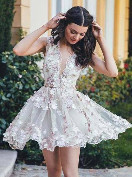 b264b0748bcb Lace Applique Short Mini Homecoming Dresses Princess See Through Party Dress  ARD1375