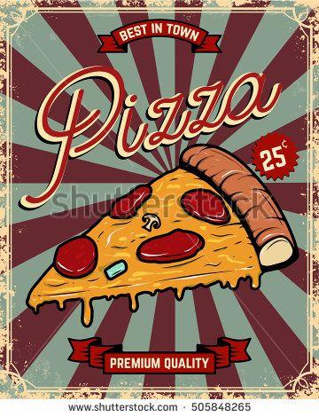Pizza vintage flyer on grunge background. Fast Food. Design elements for poster, flyer, menu. Vector illustration.