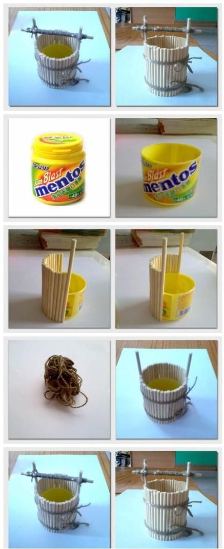 Good Idea for recycling of small containers. Make a wooden tub container! :) Mother's Day gift for kids to make!