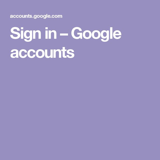 Sign in – Google accounts