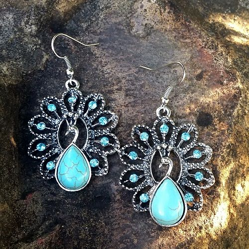 Boho Collection - Tibetan Silver Blue Crystal and Turquoise Peacock Earrings