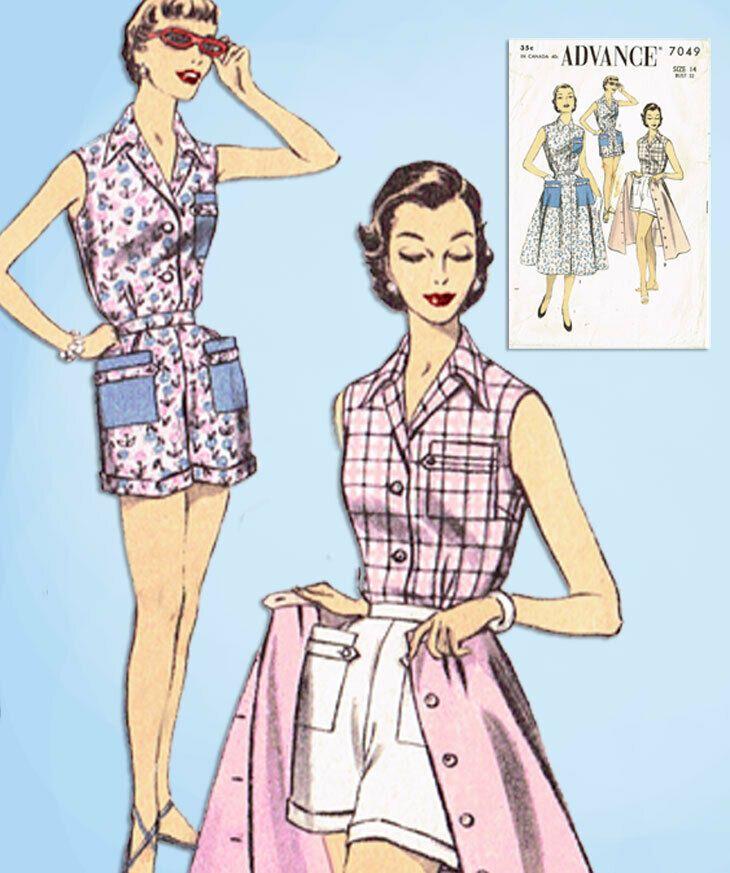 1950s Vintage Advance Sewing Pattern 7049 Misses 3 Piece Play Suit