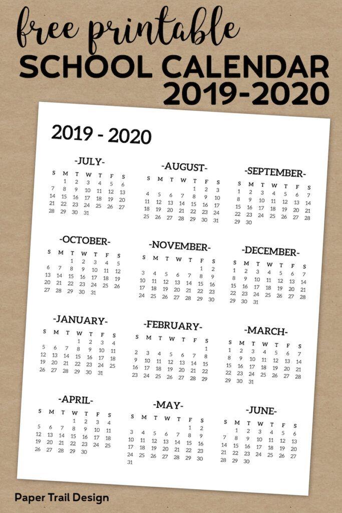 2019 2020 One Page School Calendar Printable School Calendar