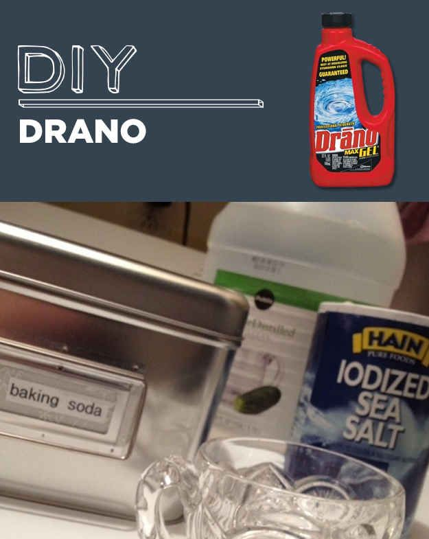 DIY Drano- Mix together 1 cup of baking soda, 1 cup of salt and 1/4 cup of cream of tartar. Measure about a quarter cup of the mixed powder and pour into your clogged drain. Pour two cups of boiling water into the drain, and let stand for about an hour, then run fresh water from the tap.