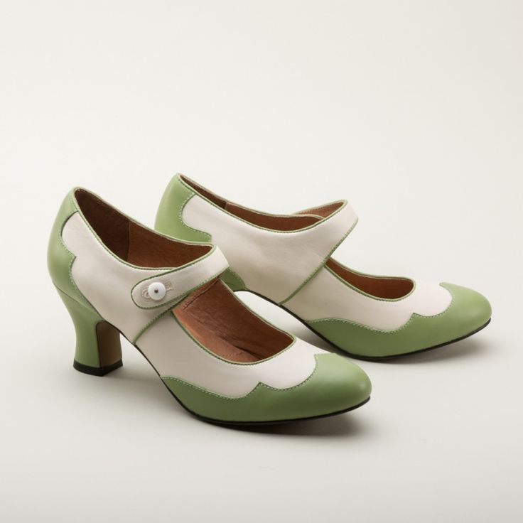 Lillian Retro Spectator Shoes by Royal Vintage (Sage/Ivory)