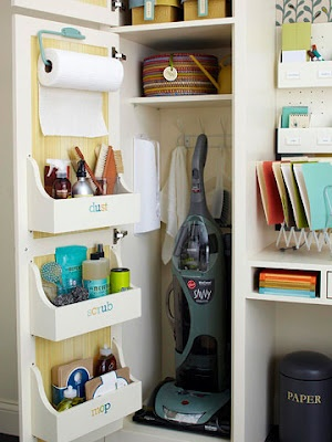 If you find your cleaning supply closet in need of cleaning, sort your various bottles and cans by type of cleaning job in racks mounted to the door of your closet. From Better Homes and Gardens.