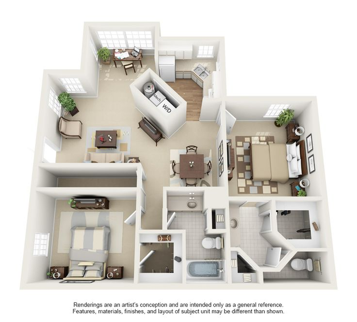 216 best images about 3d housing plans layouts on pinterest for Two bedroom apartment ideas
