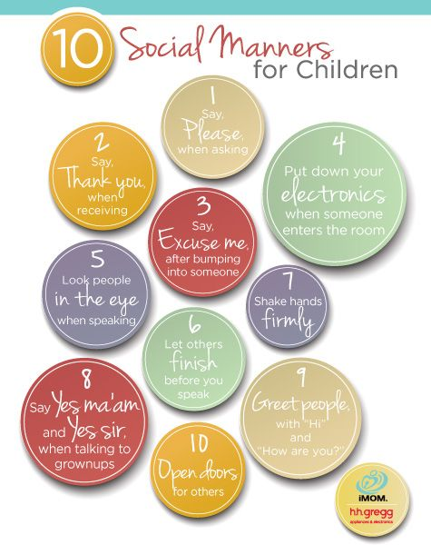 What a great printable: 10 Social Manners for Children