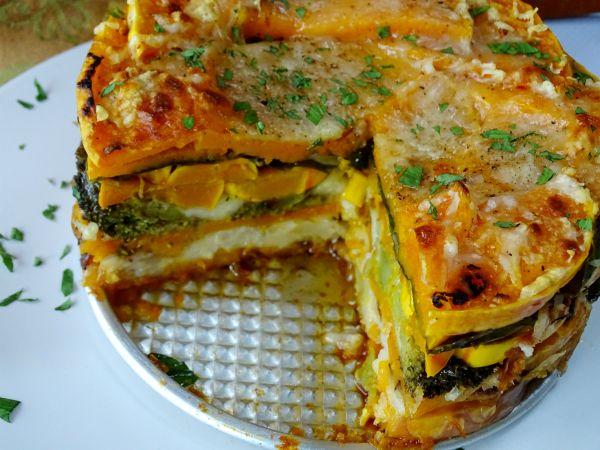 Layered Roasted Vegetable Torte Roasted Vegetables Vegetable Pie Cooking Recipes