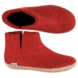 Glerups Danish Boots - Dark Red Felted Wool