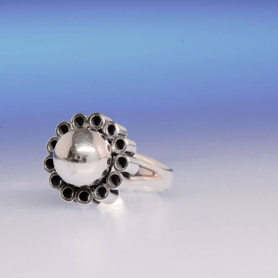 "Erik Granit (FI), modernist sterling silver ""Flower"" ring with tubular petals, 1968. #finland | finlandjewelry.com #forsale"