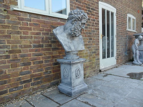 5 FOOT TALL GARDEN STATUE MALE BUST AND PLINTH SOLID CAST STONE   EBay