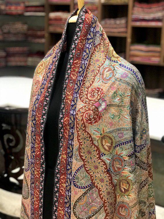 d67795e671 Kalamkari Pure Pashmina Shawl, Hand Painted & Hand Embroidered Kashmir Shawl,  Pure Cashmere Scarf, Kalamkari Wrap, Kashmiri Hand Sozni …