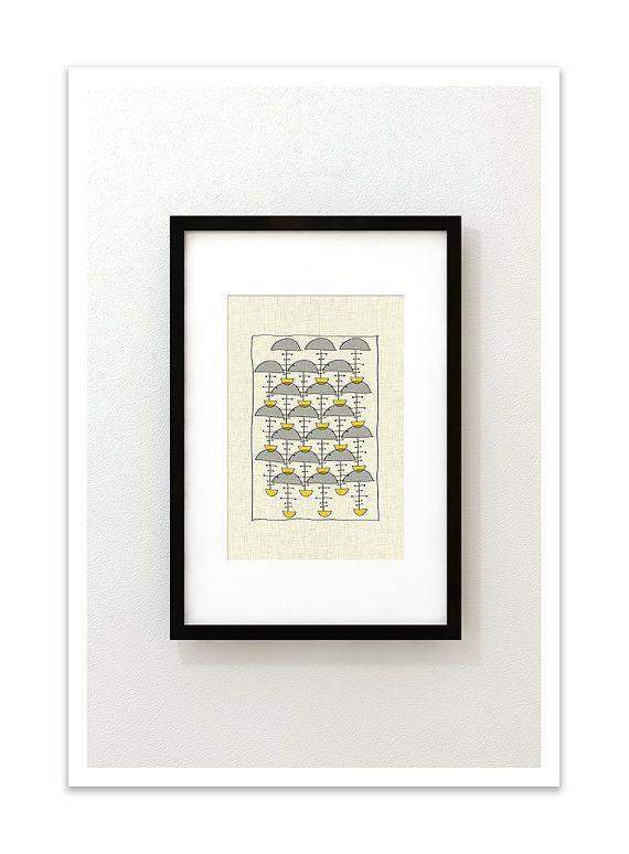 PARAPLUIE - Giclee Print - Mid Century Modern Danish Modern Minimalist Cubist Modernist Eames Retro Abstract