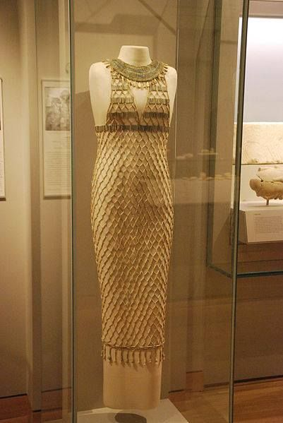Beadnet dress, from Giza, tomb G 7440 Z. Made of faience, and dating to the 4th dynasty, from the reign of Khufu, circa 2551-2528 B.C. Now residing in the Museum of Fine Arts, Boston.  Khufu reign: 2589 to 2566 BC    Egypt Tour Packages, Egypt Travel Tours, Egypt Tours    www.blueskygroup.net