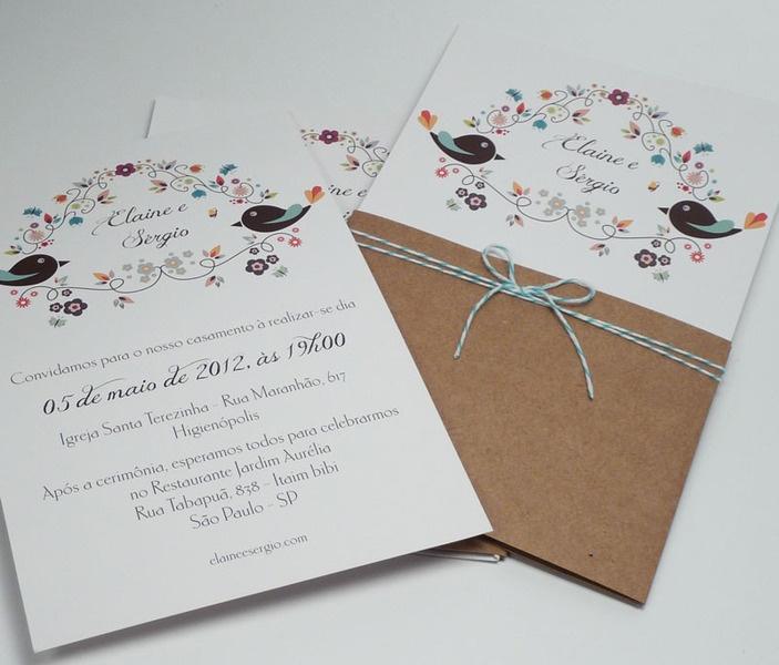 Convite de casamento simples e alegre com tema de passarinhos - AboutLove
