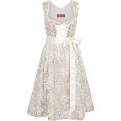 Beiges Dirndl mit Rosendruck-Muster von Alpenmädel. Zu leihen bei dresscoded.com #dresscoded