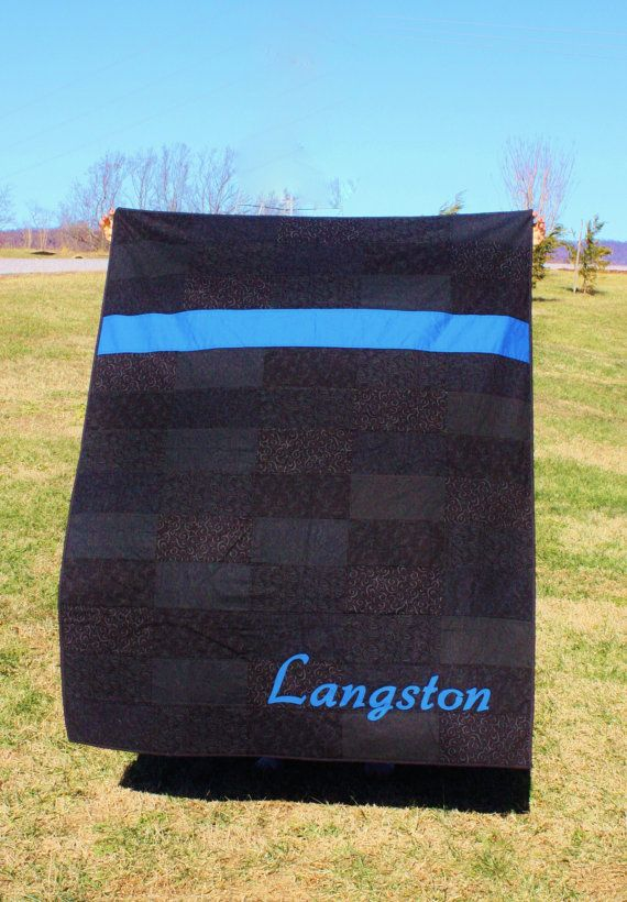 Police LEO Thin Blue Line Quilt customized with officer's last name. By Thin Line Quilts on Etsy