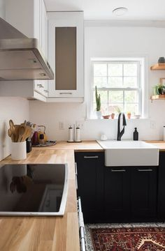 What A Transformation This Two Toned Modern Kitchen Is Amazing I Also Love The Busy Patterned Tiles Soo Good Check It Out